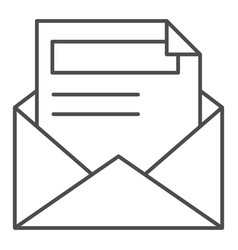 envelope and letter thin line icon document vector image