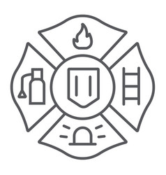 fire emblem thin line icon symbol and firefighter vector image