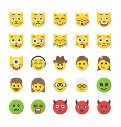 Flat icons set of smileys vector