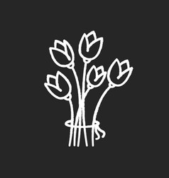 flowers chalk white icon on black background vector image