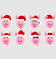 Funny pigs in santa hats chinese symbol new year vector
