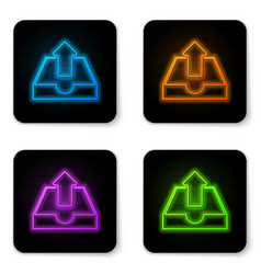 glowing neon upload inbox icon isolated on white vector image