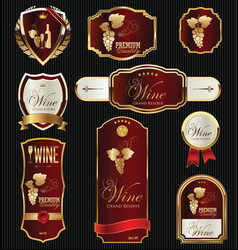 gold and red elegant wine labels collection vector image