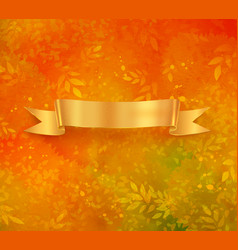 golden colored banner on autumn background vector image