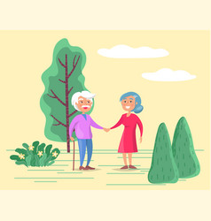 Grandparents stroll in park old couple on walk vector