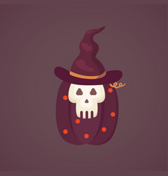 halloween pumpkin with cute face on dark vector image