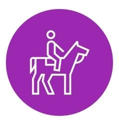 Horse riding line icon vector