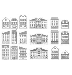 houses set european old buildings outline vector image