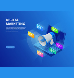 Isometric digital marketing business marketing vector