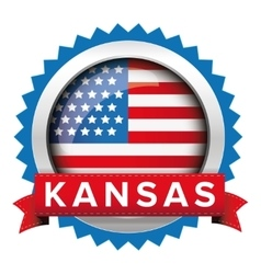 Kansas and USA flag badge vector