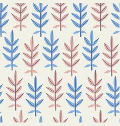 leaves flat hand drawn seamless pattern vector image