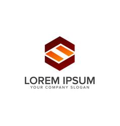letter s hexagonal logo design concept template vector image