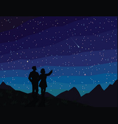 Make a wish silhouette of couple watching vector