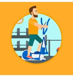 Man exercising on elliptical trainer vector