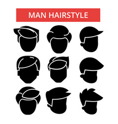 man hairstyle thin line icons vector image