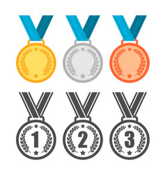 medals set sport winner awards gold silver and vector image