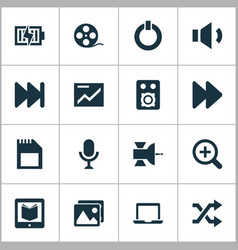 media icons set with satellite microphone vector image