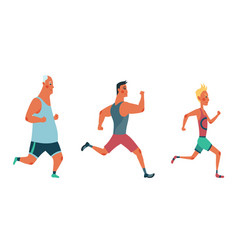 men running marathon race group people dressed vector image