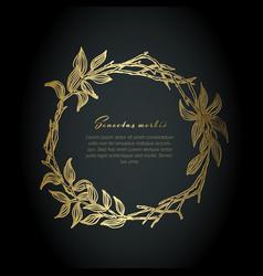 minimalist golden floral wreath flyer vector image