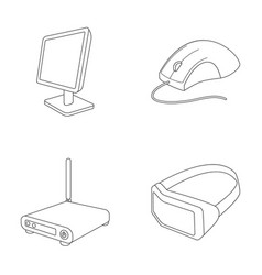 Monitor mouse and other equipment personal vector