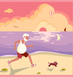 old man jogging vector image