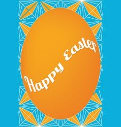 Orange egg easter card on dagger pattern vector image vector image