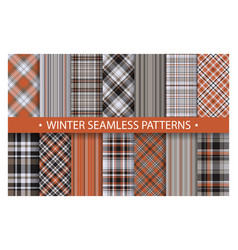 plaid pattern seamless ornate set winter vector image