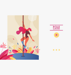 Pole dancing landing page concept banner with vector
