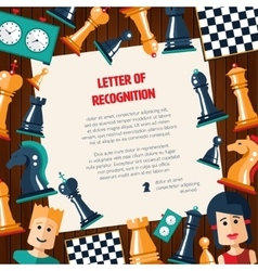 Postcard with flat design chess and players icons vector image