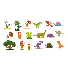 Prehistoric stone age elements set primitive vector