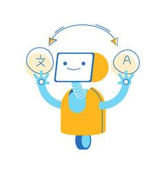 Robot translator foreign language on white vector