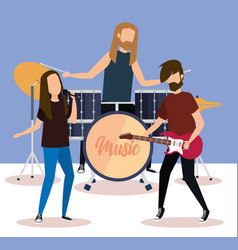 rock band playing instruments vector image