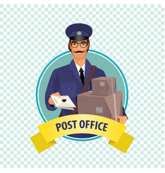 Round icon on white background with postman vector