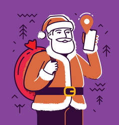 santa claus with smartphone christmas concept vector image