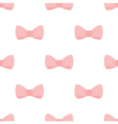 Seamless pastel pink bows on white background vector image