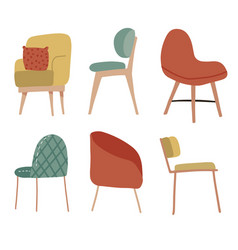 set hand drawn cosy soft chairs collection of vector image