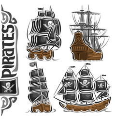 Set of variety pirate ships vector