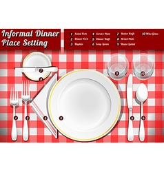 Set place setting informal dinner vector