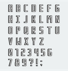 simple linear blocky font with numbers vector image