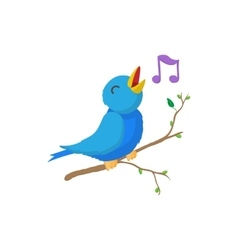Singing bird icon cartoon style vector image