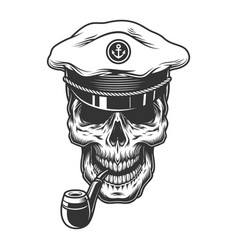skull with pipe in the vector image