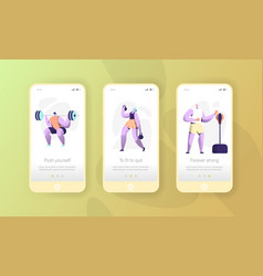 sport character mobile app page onboard screen vector image