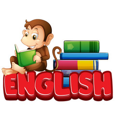 sticker design for word english with monkey vector image