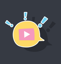 sticker play logo icon buttonyoutube flat social vector image
