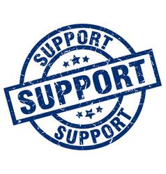 Support blue round grunge stamp vector