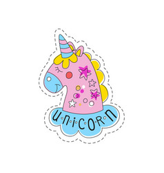 Sweet pink unicorn childish patch badge cute vector