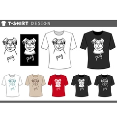 T shirt design with pug dog vector