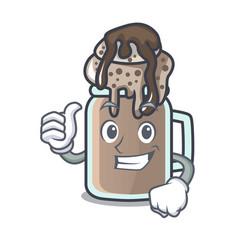 Thumbs up milkshake character cartoon style vector