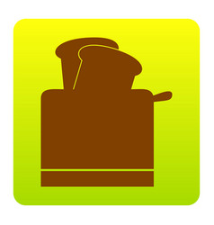 toaster simple sign brown icon at green vector image