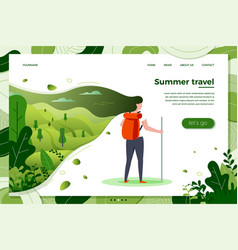 tourist girl with backpack on summer travel vector image